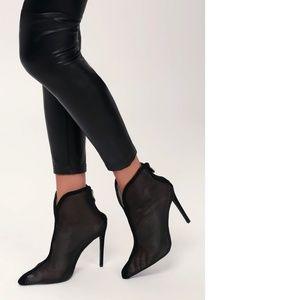 Stowe Black Mesh High Heel Ankle Booties